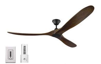 Monte Carlo 3MAVR70BK Maverick 70 Inch Ceiling Fan in Matte Black with Dark Walnut Blades, Remote and Wall Control