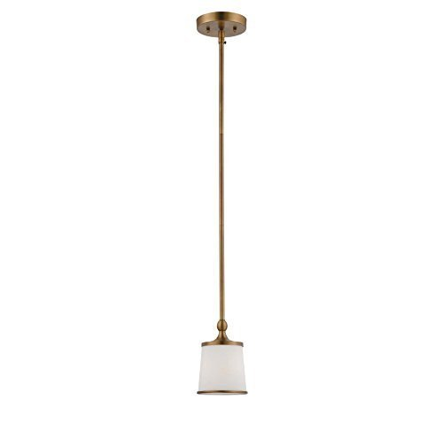 (Savoy House 7-4387-1-178 Mini Pendant with White Etched Shades, Heirloom Brass Finish by Savoy)