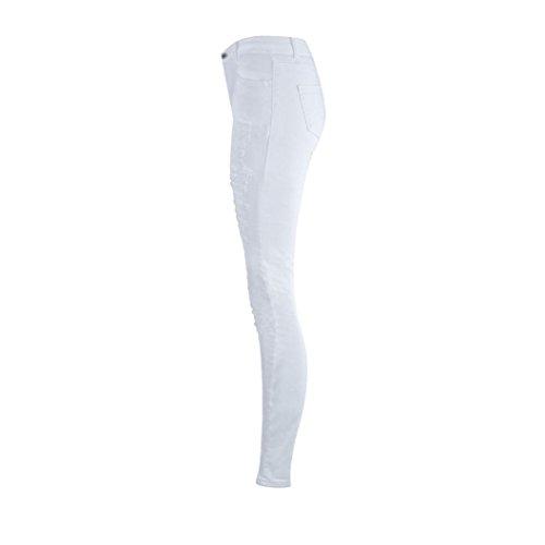 Vaqueros Push Alta Rotos Pantalones Rasgados Skinny Pantalones De Cintura LáPiz Up Blanco Mujer LHWY Pantalones Tejanos EláStico qwqfR