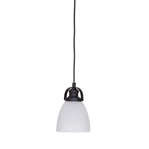 Ravenna Home Frosted Glass Casual Mini Pendant Light With LED Light Bulb - 6 x 6 x 8.50 Inches, Dark Bronze