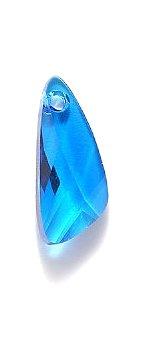 Swarovski 6690 Wing Pendants, Transparent, Capri Blue, 23mm, 2 Per Pack