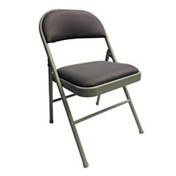 Realspace(R) Upholstered Padded Folding Chair, Gray