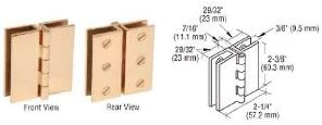 CRL Brass Finish Large Glass-to-Glass Out-Swing Set Screw Hinge - Package