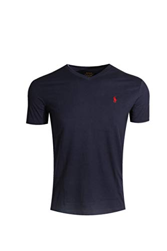 Polo Ralph Lauren Mens Classic Fit V-Neck T-Shirt (Medium, Ink (red Pony))