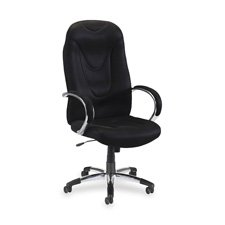 Lorell Hi-Back Executive Chair, 30-1/2 by 25-1/2 by 47-Inch to 50-1/2-Inch, Black