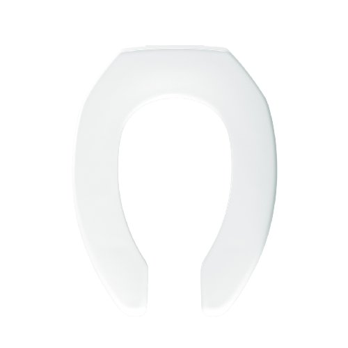 Bemis 1955SSC000 Plastic Open Front Less Cover Self Sustaining Check Hinge Elongated Toilet Seat, White by Bemis