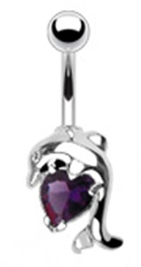 14g Surgical Steel Dolphin Sexy Belly Button Navel Ring Body Jewelry Piercing with Dark Purple Solitaire Heart Non Dangle 14 Gauge 3/8
