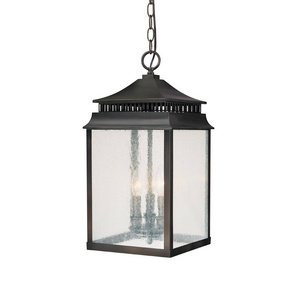 Hanging Old Bronze (Capital Lighting 9116OB Sutter Creek 3-Light Exterior Hanging Lantern, Old Bronze Finish with Clear Seeded Glass)