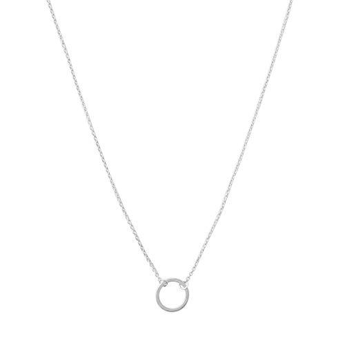 HONEYCAT Mini Karma Open Circle Orbit Necklace in Silver (Rhodium Plate) | Minimalist, Delicate Jewelry (Silver)
