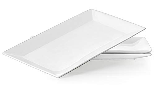 (DOWAN 14 Inches Porcelain Serving Platters, Dinner Plate Set, 3 Packs, White and Rectangular)