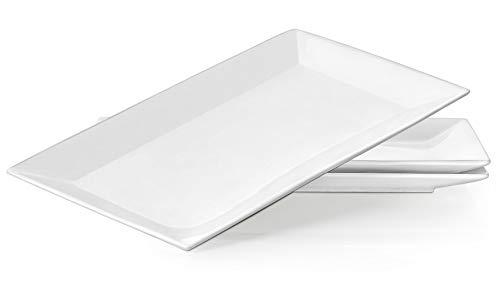 DOWAN 14-Inch Porcelain Serving Platters/Dinner Plate Set - 3 Packs, White & Rectangular
