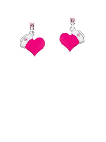 C5190 Light - Hot Pink Heart with Nurse Hat Light Pink Crystal Post Earrings