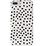 (Roses Garden Phone Case Protectivedesign Hard Back Case Preppy Brushstroke Polka Dots Black and White Spots Dots Dalmation Animal Spots Design Minimal Slim Case for iPhone 7 Plus)