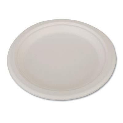 ChampWare Heavyweight Bagasse Dinnerware, Plate, 9, White, 500/Carton (2 Cartons)