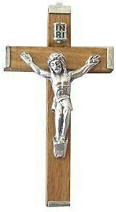 56X32 Mm Olive Wood/Aluminum Crucifix - Large (2.2X1.25)