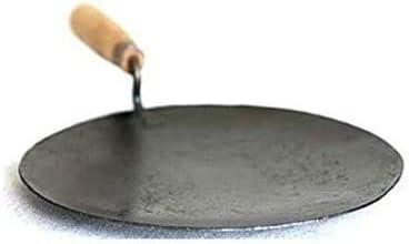 Satisfactory Nation Iron Tawa Cookware Roti Maker chapati Maker Iron Tava with Wooden Handle 9 Inch