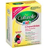 Culturelle Kids Daily Probiotic Chewable Dietary Supplement | Helps Support Kids Immune & Digestive Systems | For Children Age 3+ | #1 Pediatrician Recommended Brand, 60 Chewable Tablets