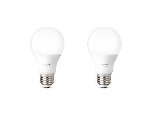 Philips Hue White A19 2-Pack 60W Equivalent Dimmable LED Smart...