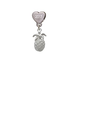 Pineapple Custom Year Stainless Steel Heart Bead Charm