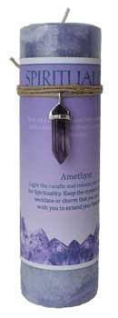 ★お求めやすく価格改定★ ホーム飾りPillar Candle Spirituality Candle withパープルアメジスト原石アミュレットネックレスチャームHand Made Made B07847CGGB, くつろぎ創造:30ed5240 --- egreensolutions.ca