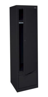 Sandusky Lee HAWF171864-09 System Series Single Door Wardrobe with File Drawer, Black