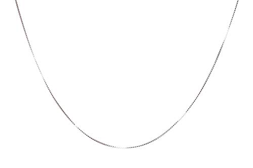 Charm 18 Sterling Chain - NAGHC 925 Sterling Silver Chain 0.8MM Delicate Box Chain - Italian Necklace Chain - Super Thin & Strong Lovely Chain (18)