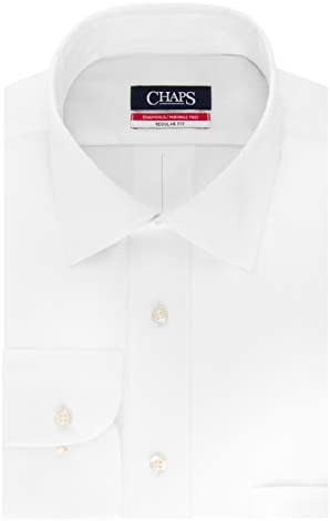 Chaps Mens Dress Shirts Regular Fit Solid Spread Collar, White ...