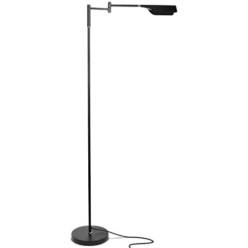 Brightech Leaf - Bright LED Floor Lamp for Reading, Crafts & Precise Tasks - Standing Modern Pharmacy Light for Living Room, Sewing - Great by Office Desks & Tables - Jet Black ()
