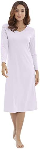 WiWi Soft Bamboo Cotton Long Sleeve Loungewear Sleepwear Nightshirt Plus Size Nightgowns for Women S-3X