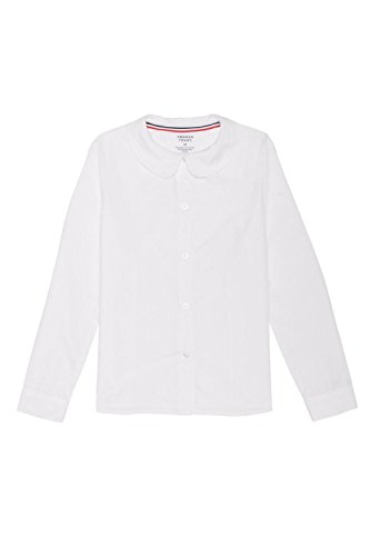 French Toast Little Girls' Long Sleeve Peter Pan Collar Blouse, White, (Little Girls Blouse)
