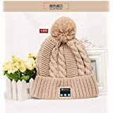 e-joy BT_EARFLAPBeige New Bluetooth Wireless Smart Beanie Musical Knit Headphone Speaker, Built-in Mic Compatible with iPhone Android Cell Phones