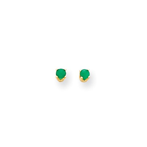 Girls 3mm Emerald Screw Back Stud Earrings in 14k Yellow Gold by The Black Bow