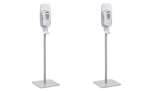 PURELL Hand Sanitizer Dispenser Floor Stand, White/Grey, Floor Stand for use with PURELL LTX or TFX Touch-Free Sanitizer Dispensers - 2424-DS (Pack of 2)