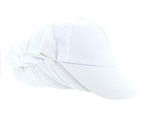White Cotton Craft Baseball Caps Hats Lot of 12