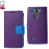 Reiko Interior LG G3 Mini, G3 S, G3 Vigor 3-In-1 Leather Case/Cover/Pouches with Stand Function - Retail Packaging - Purple