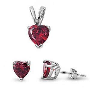 (Ruby Heart Pendant & Earrings Set 925 Sterling Silver - Jewelry Accessories Key Chain Bracelet Necklace Pendants)