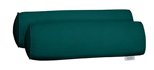 tdoor Set of 2 Corded Bolster Neckroll Pillows Made from Performance Peacock Velvet Fabric- Choose Size (24
