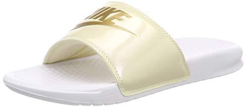White Gold Flat Top - Nike Women's Benassi Just Do It. Sandal White/Gold (US 7)
