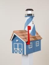 Lighthouse Solar Post Light (Solar Lighthouse Mailbox (Blue with White Trim))