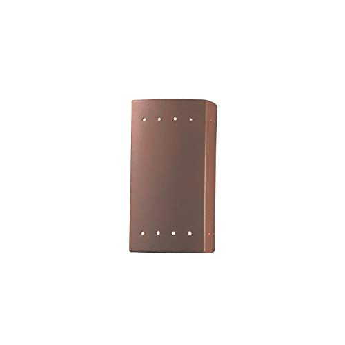 Justice Design Group Ambiance Terra Cotta Small Rectangle with Perfs Wall Sconce