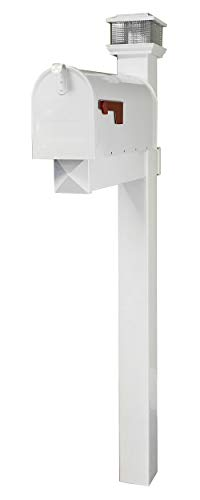 (The Galaxy Steel Mailbox with LED Solar Light Cap and White Vinyl Post (White Mailbox))