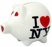 I Love NY Piggy Bank, Ceramic New York City Souvenir, Kids NYC - New For Kids York Souvenirs