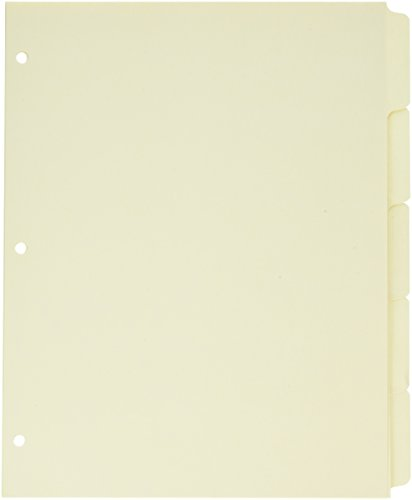 Sparco Ring Book Index, 3HP, 5-Tab, 11 x 8-1/2 Inches, 5 per Pack, Manila (SPR01823) (5 Ring Tab Book)