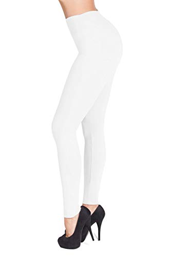 (SATINA High Waisted Leggings – 22 Colors – Super Soft Full Length Opaque Slim (One Size,)