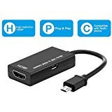 Micro USB to HDMI Cable Converter, MHL HDTV Adapter, Support Full HD 1080P for Android Phone and Tablets with MHL Function, compatible with Samsung Galaxy S5, S4, S3, Note 4/3/2