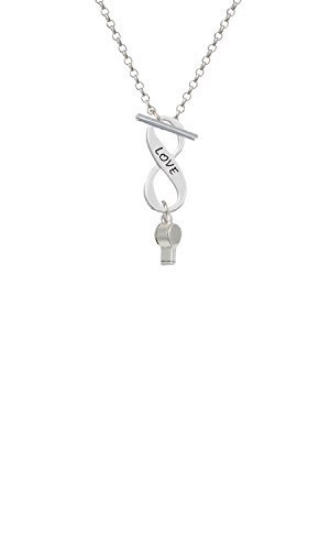 Silvertone 3-D Whistle Love Infinity Toggle Chain Necklace
