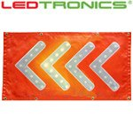 YELLOW LED Flashing Arrow Chevron on RED Mat, 32.5×17.625 inches