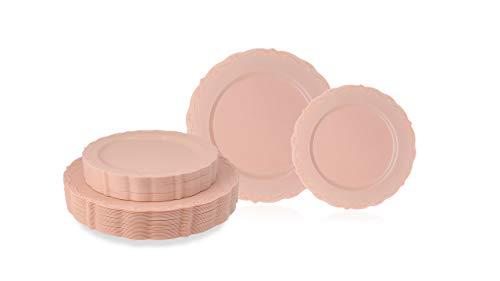 Disposable Plastic Plates Set, Vintage Party Plates, Pink/Blush 60 Pack (30 Guest) 30 x 10.25