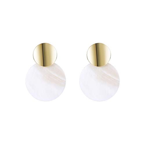 YOMEGO 925 Sterling Silver Needle Natural Shell Earring - 14K Gold Studs Statement Drop Earring, Good Idea of Jewelry Gift for Women (White Nature Shell)