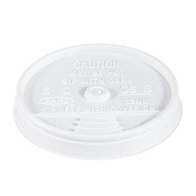 Dart 12UL White Plastic Sip-Thru Lid For 12J12 Foam Cup